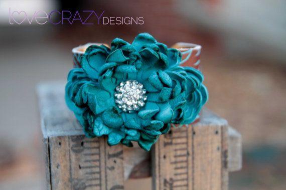 Leather cuff cuff cuff braceletleather flower by LoveCrazyDesigns