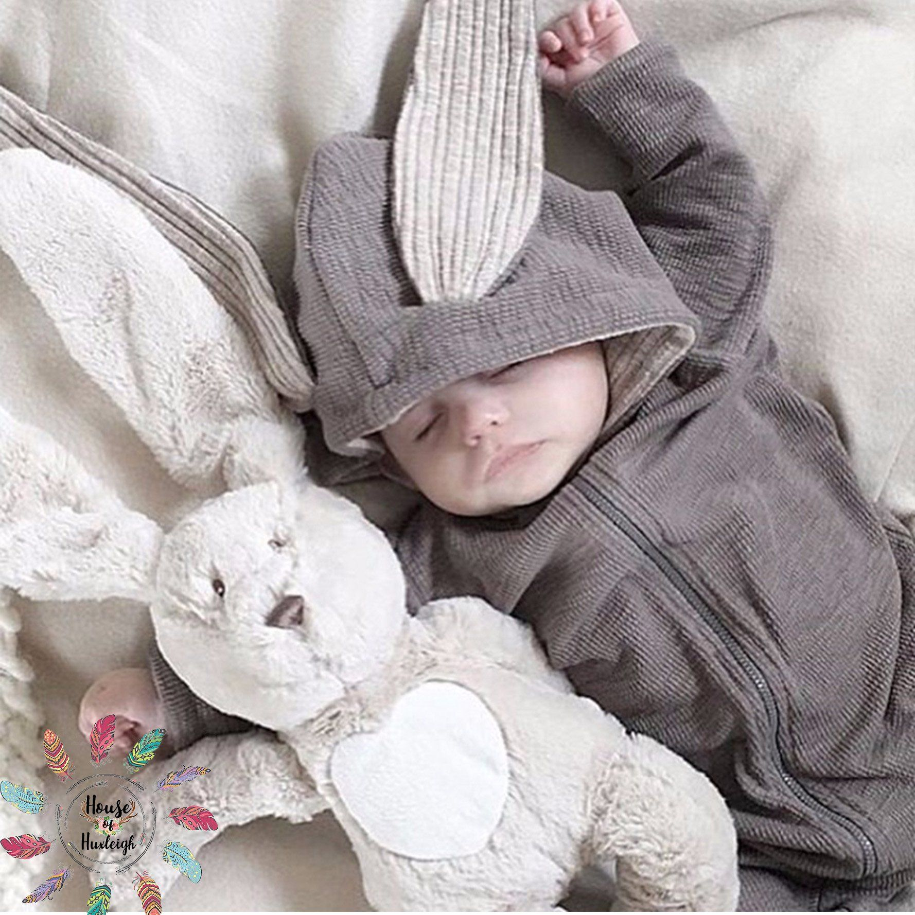 2f3892582ba Warm Rabbit Ear Zipper Baby Rompers  Rabbit  Baby Rabbit Clothes  Baby  Outfit  Baby Rabbit Jumpsuit  Rabbit Ear Baby Hooded Romper