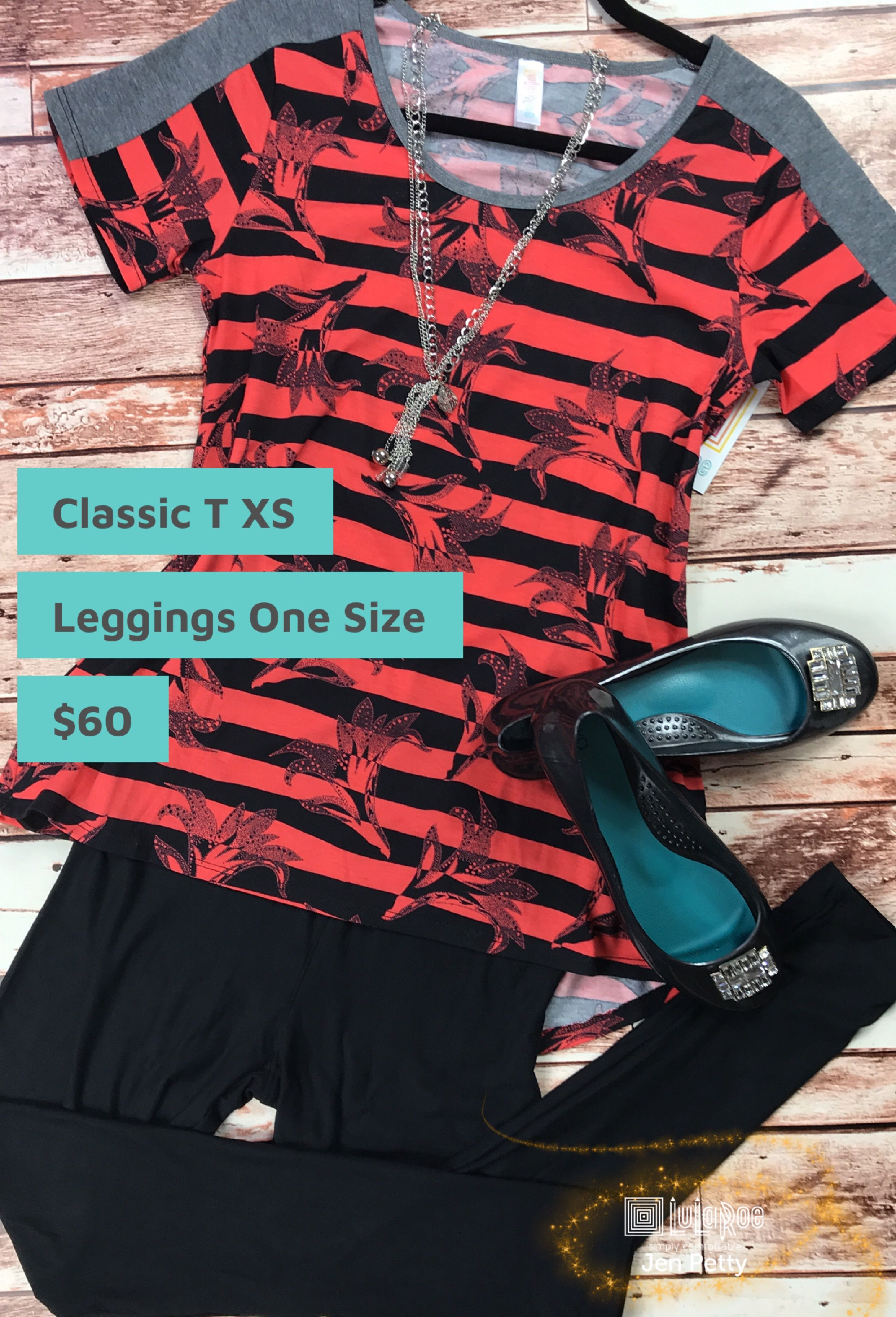 ce055e6b8d8e2a XS Floral and stripes Coral and black LuLaRoe classic tee paired with solid  black Noir one