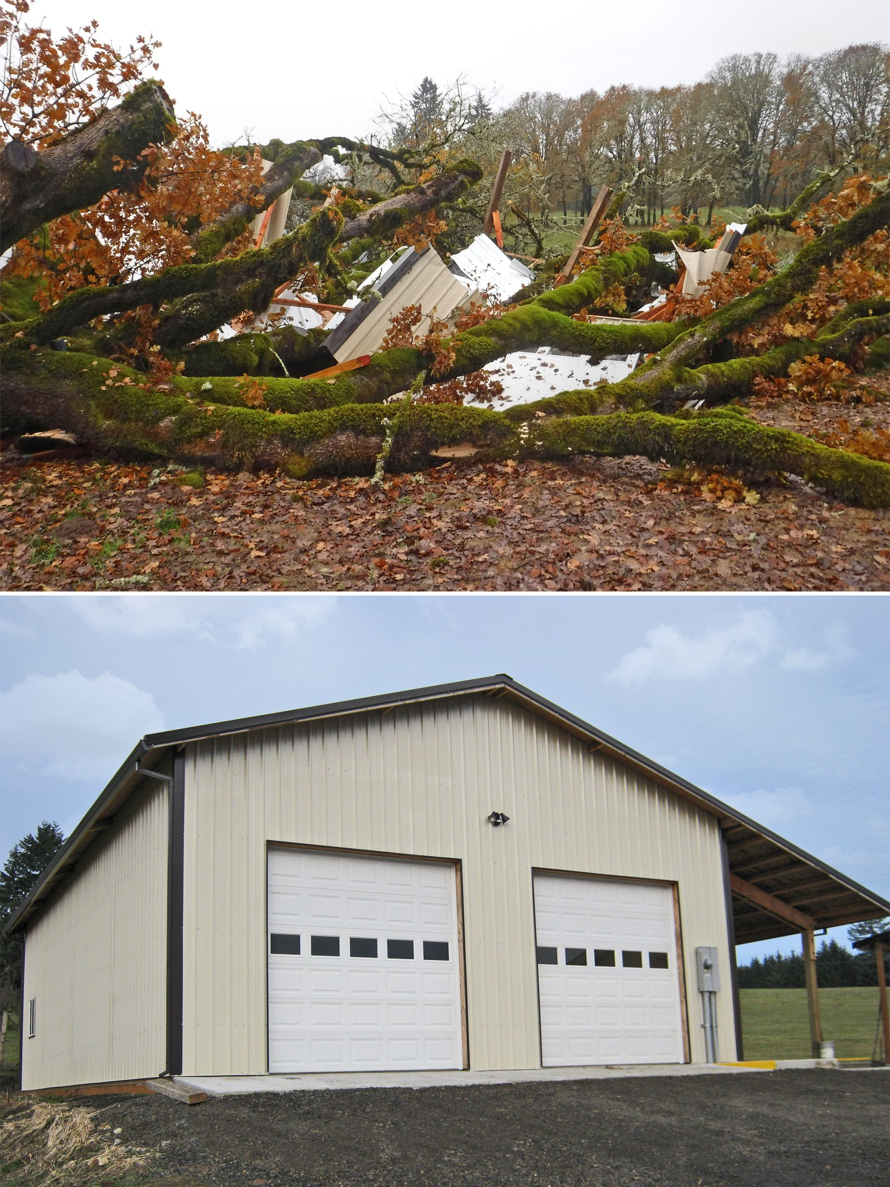 hight resolution of before and after shot of a 32 x 48 x 14 agricultural building that was destroyed by a falling tree www econofabbuildings com
