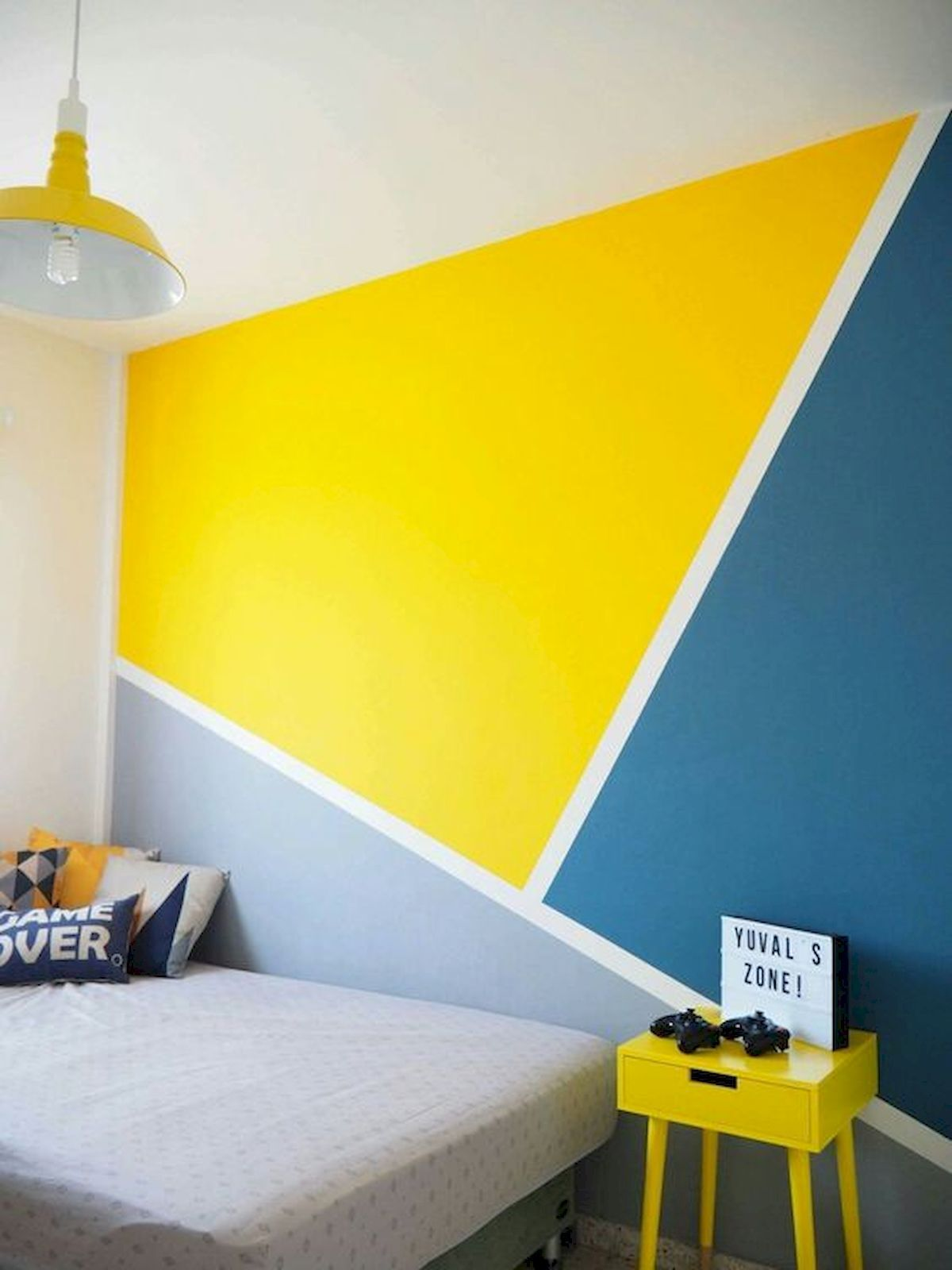 A Diy Geometric Wall Mural With Behr Paint Inspired By This Bedroom Wall Paint Diy Wall Painting Bedroom Wall