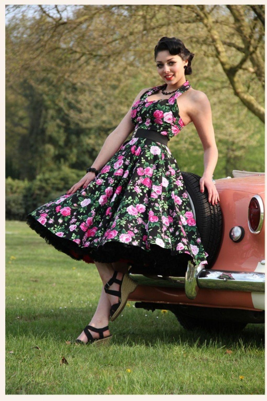 18s Retro halter Rosa black swing dress  Swing kleid, Vintage