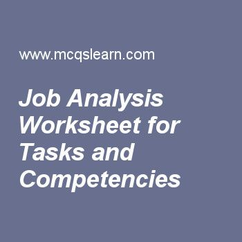 Job Analysis Worksheet For Tasks And Competencies  Human Resource