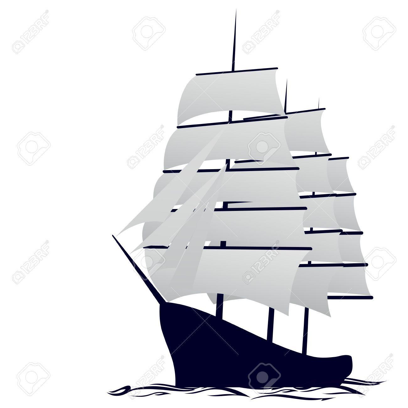 Antiguo barco de vela. Ilustración Sobre Fondo Blanco. Ilustraciones Vectoriales.
