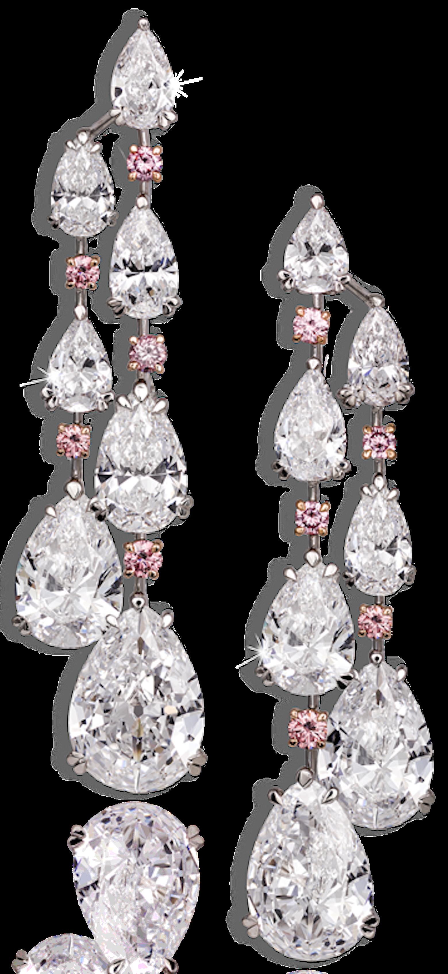 David Morris | Important white diamond chandelier earrings ...:David Morris | Important white diamond chandelier earrings comprising D/IF  pear shapes with vivid,Lighting
