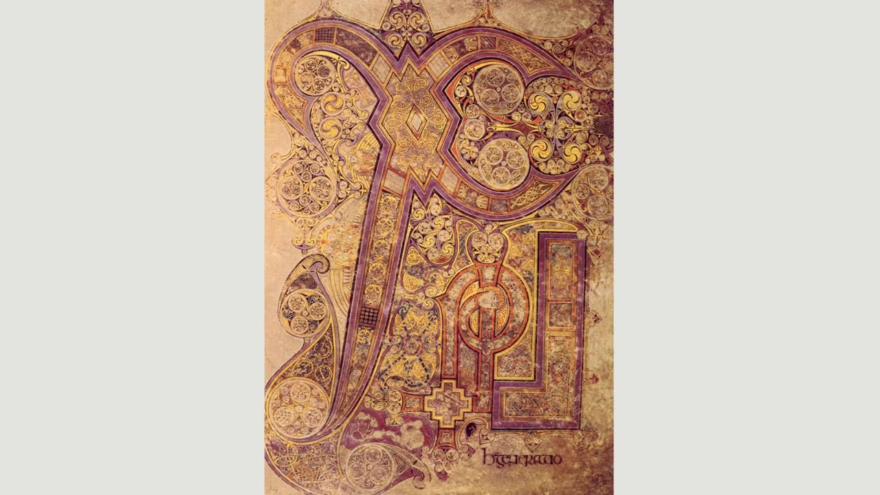 The most famous page is known as Chi Rho (Credit: Credit: The Book of Kells)