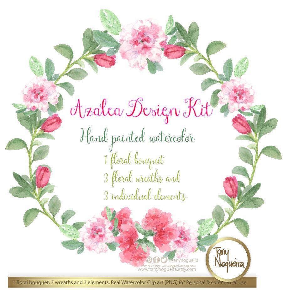Azalea Flowers Design Kit Azalea Wreaths And Bouquets Images Watercolor Hand Painted Png Transparent Back Azalea Flower Watercolor Flower Wreath Bouquet Images