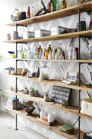 industrial shelving around window in kitchen floor to ceiling studio apartment home decor. Black Bedroom Furniture Sets. Home Design Ideas