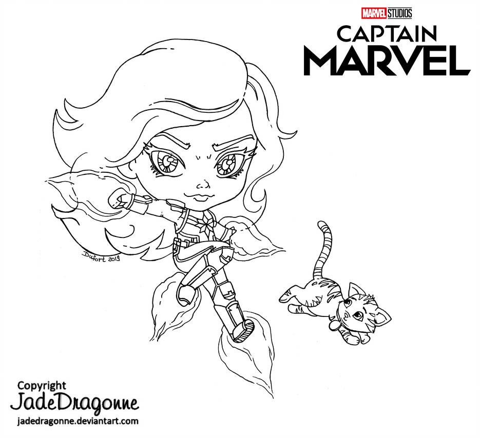 Captain Marvel And Goose Lineart By Jadedragonne Marvel