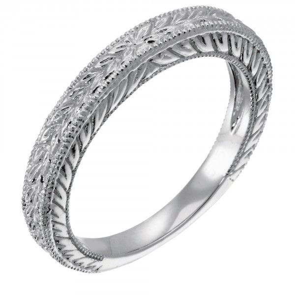 Complement the vintage-style Belle engagement ring with this wedding band, featuring the same delicate millgraining and leaf effect as the engagement ring for a rich, coordinated bridal set.   Order additional services like a personal engraving or an appraisal for $25 each. Contact customer service for details at 1.800.509.4990.  Shown in 14k gold; call customer service for an upgrade to 18k, palladium, or platinum.  Product Model: LRENVT0005B
