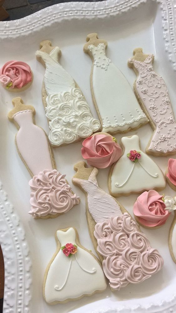 bridal shower gift ideas for bride philippines%0A Pink and White Wedding Entourage Dress Cookies   Bridal Shower Cookies   Bridesmaids Gifts  Spring Wedding