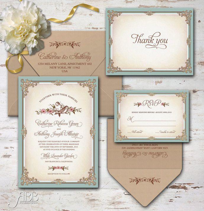 Printable Wedding Invitation Sets: Printable Wedding Invitation Set