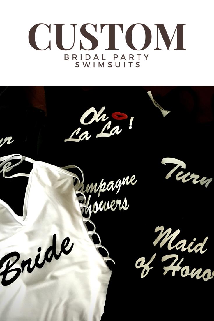 92c4329233df6 Custom bridal party swimsuits  bachelorette  swimsuits  bride  bridesmaids   maidofhonor  weddingtrends swimsuit bachelorette poolparty
