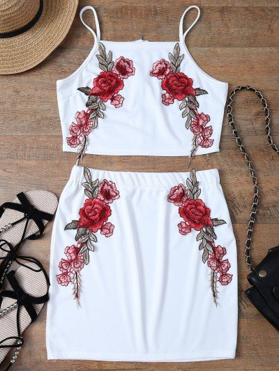 Floral Embroidered Zippered Top with Skirt WHITE #zippertop