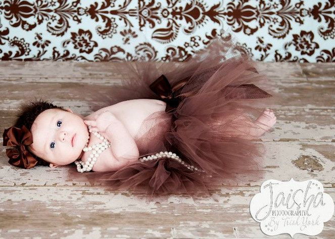 Baby with tutu and pearls