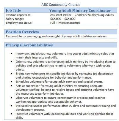 Sample Church Employee Job Descriptions Job description and Churches - church nursery worker sample resume