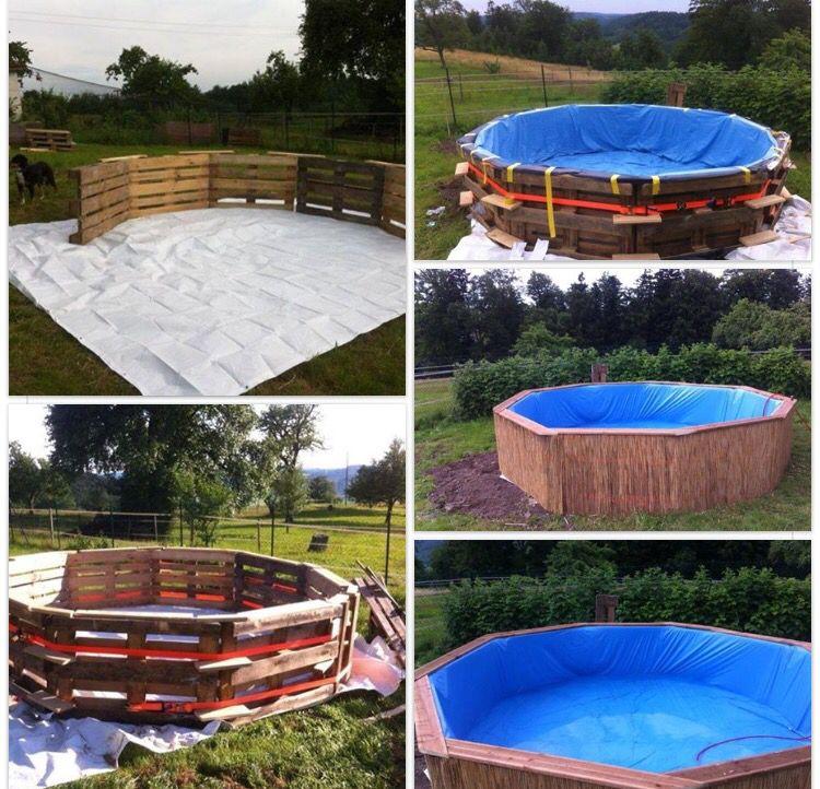 Pallet diy swimming pool paletten recycled pinterest selbstgemachte m bel diy palette und - Swimmingpool aus paletten ...