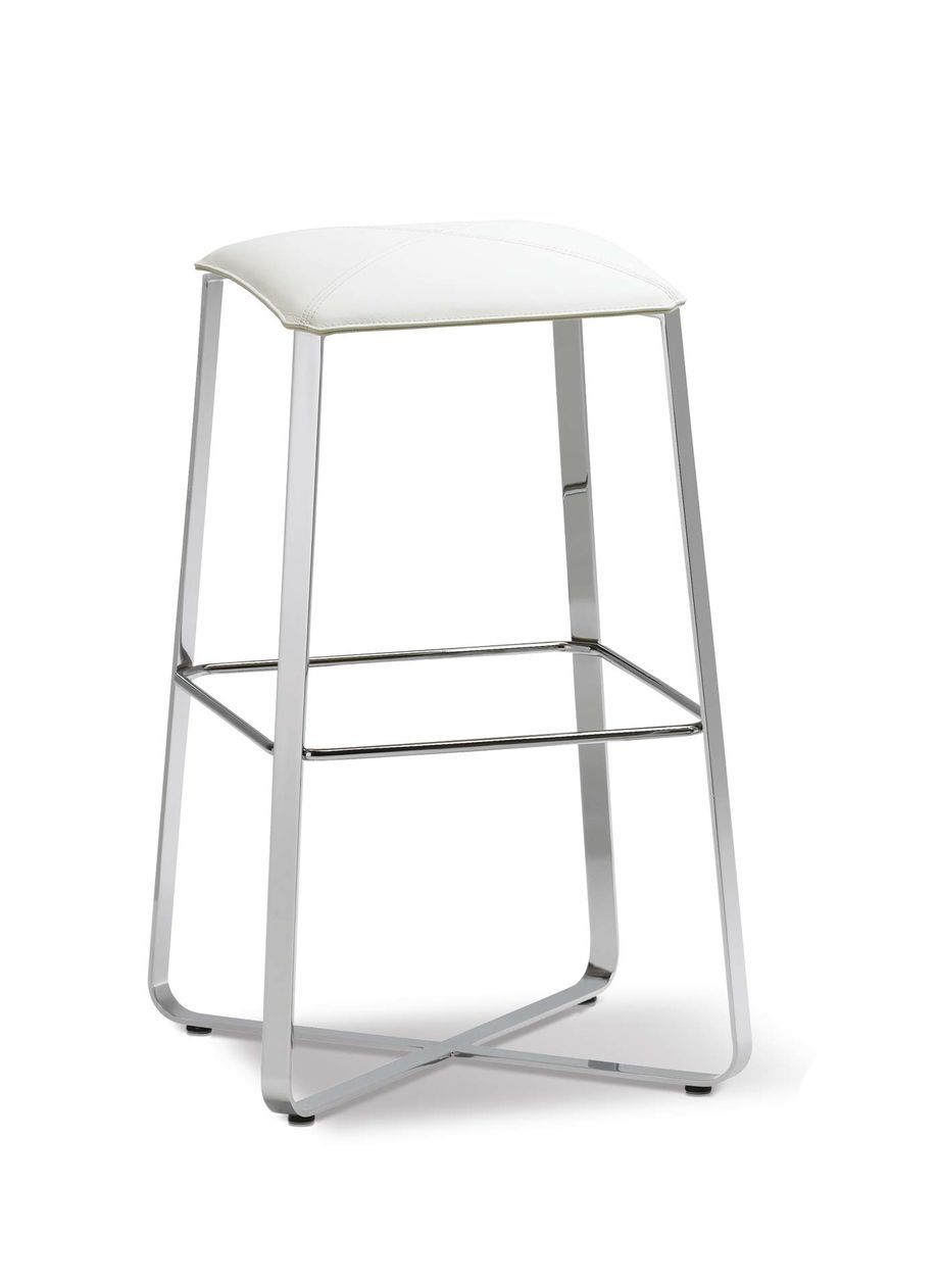 Lux Bar Stool With White Leather