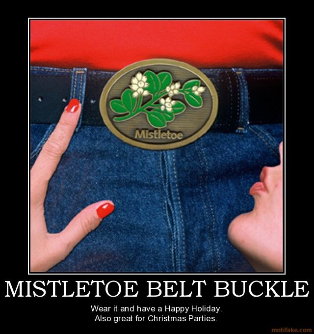 Mistletoe Belt Buckle Holiday Fun Have A Happy Holiday Christmas Humor