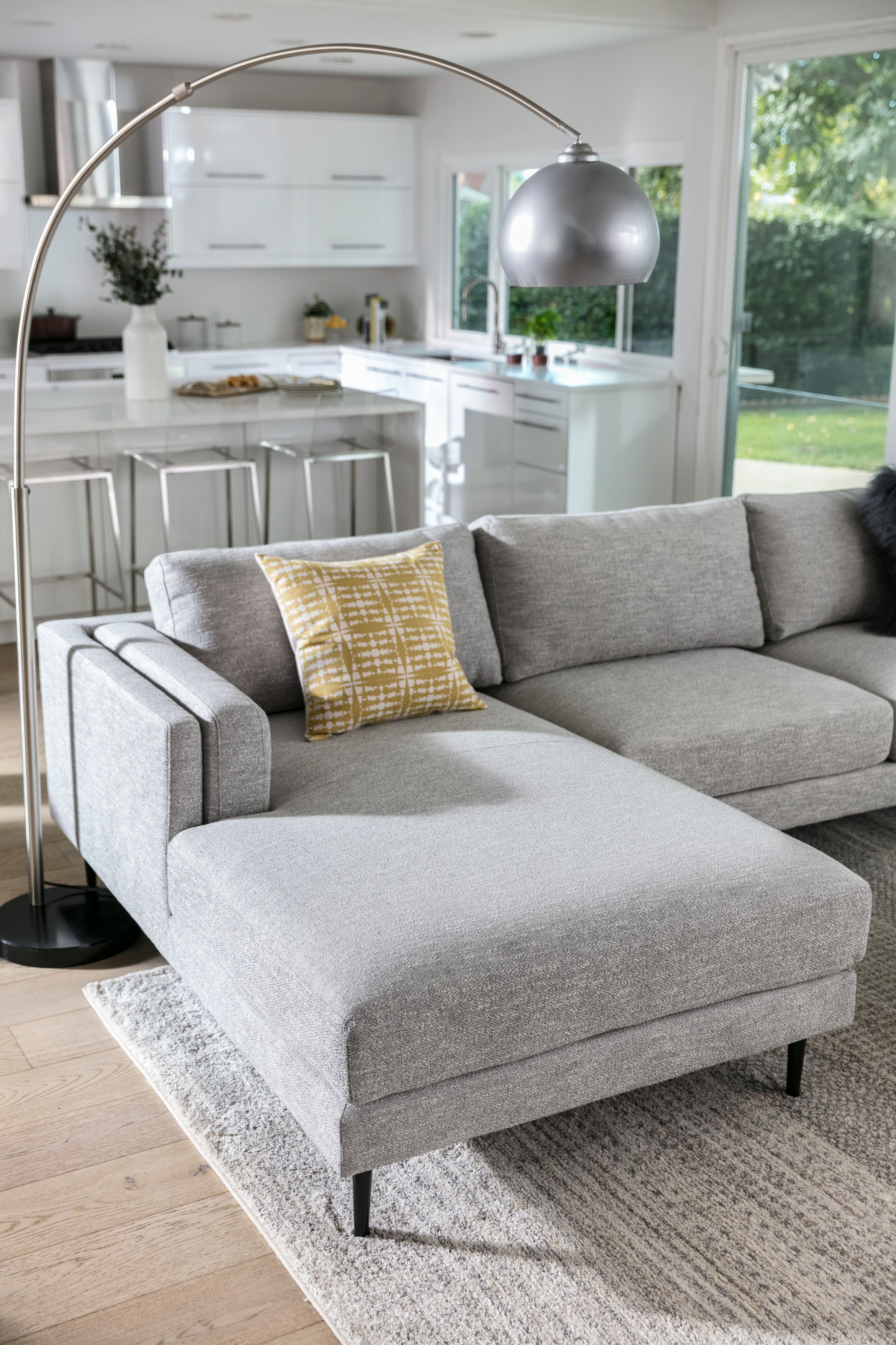 Mid Century Style Light Grey Sectional Sofa From Lean And Lofty