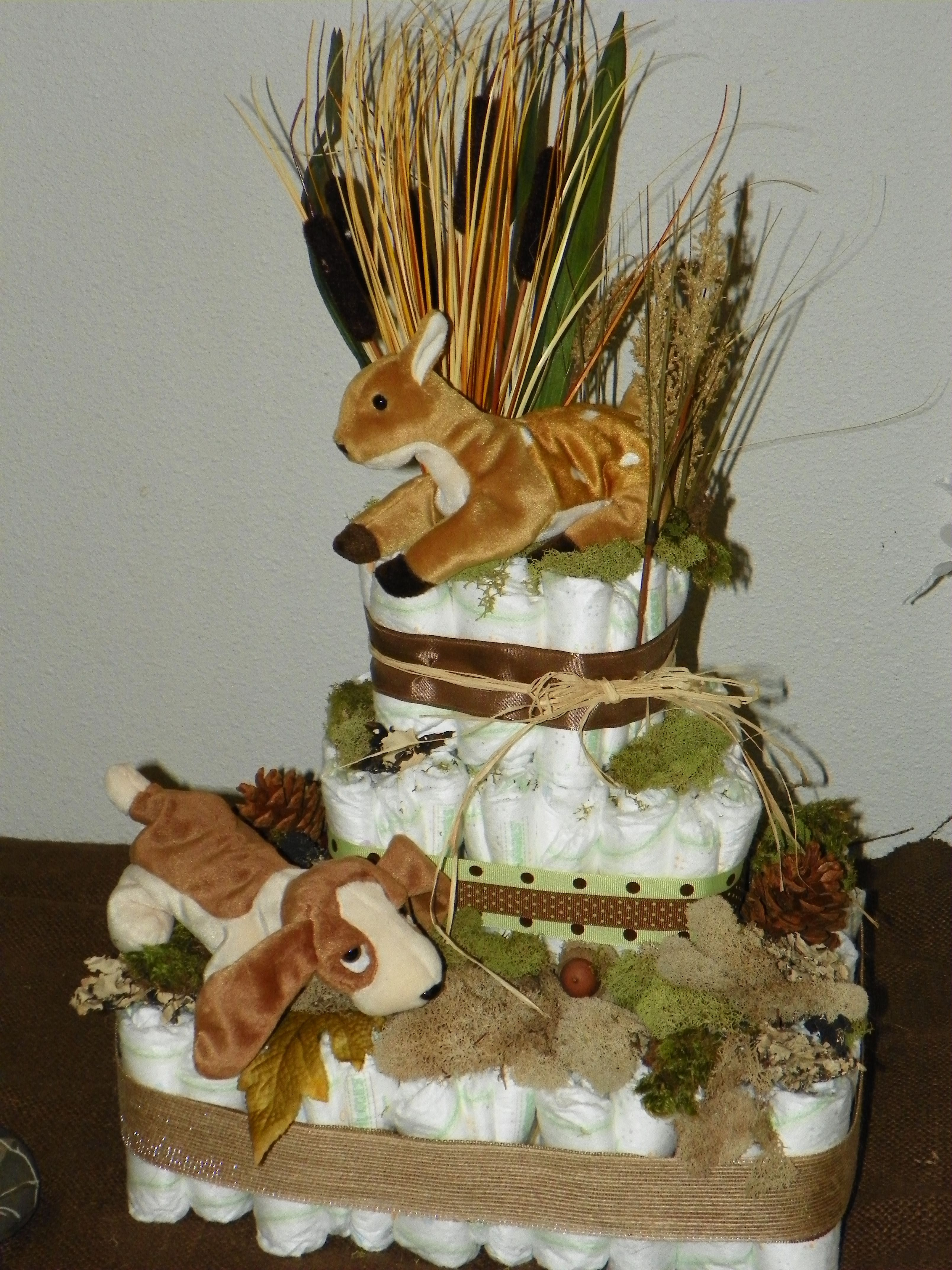 Diaper Cake With Hunting Theme Diaper Cakes For A Baby