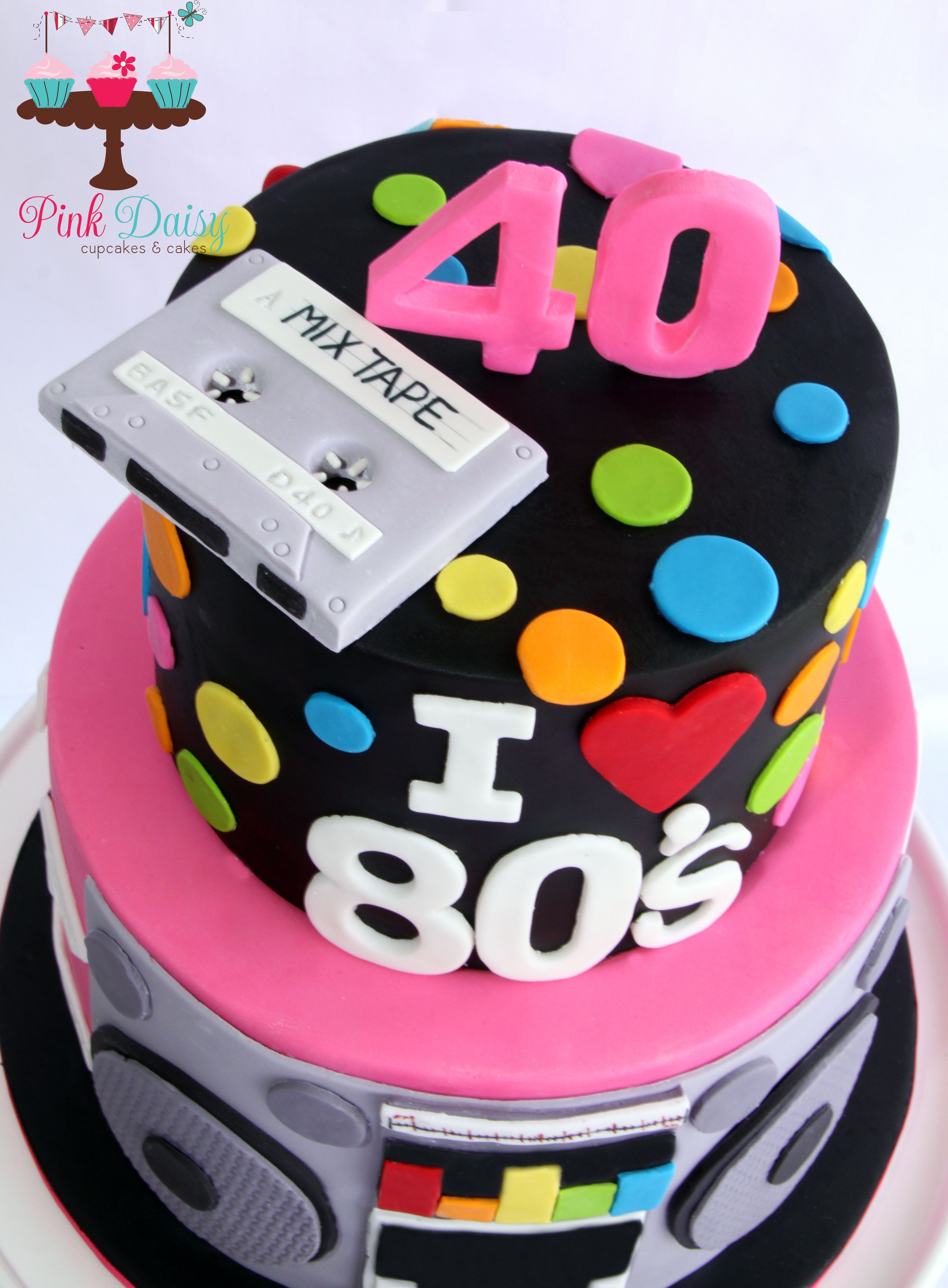 Salute To The 80 S 40th Birthday Cake Featuring Fondant Mix