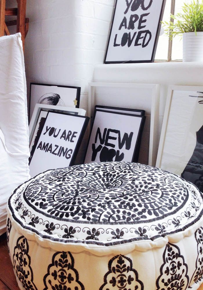 Beautiful B&W Embroidered Linen Pouffe — Bodie and Fou - Award-winning inspiring concept store