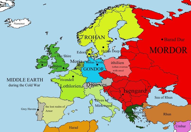 This is excellent europe transformed into middle earth during the europe map middle earth map best thing ever i live in the shire gumiabroncs Gallery
