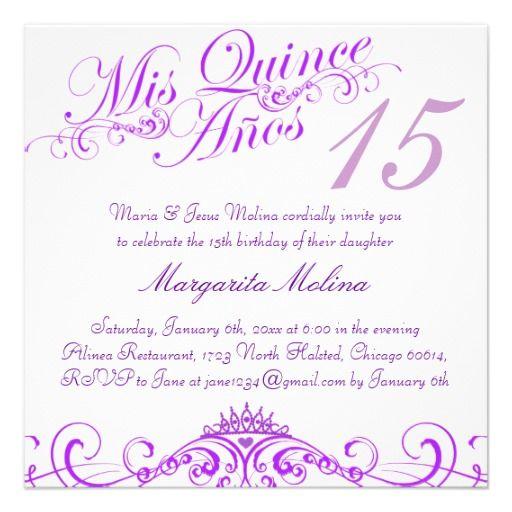 purple princess tiara quinceanera invitation in 2018 quinceanera