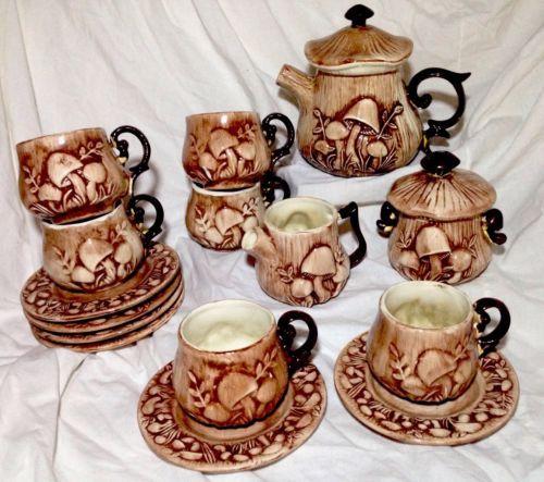 Arnels Mushroom Tea Set Service For 6 Teacup Creamer Sugar