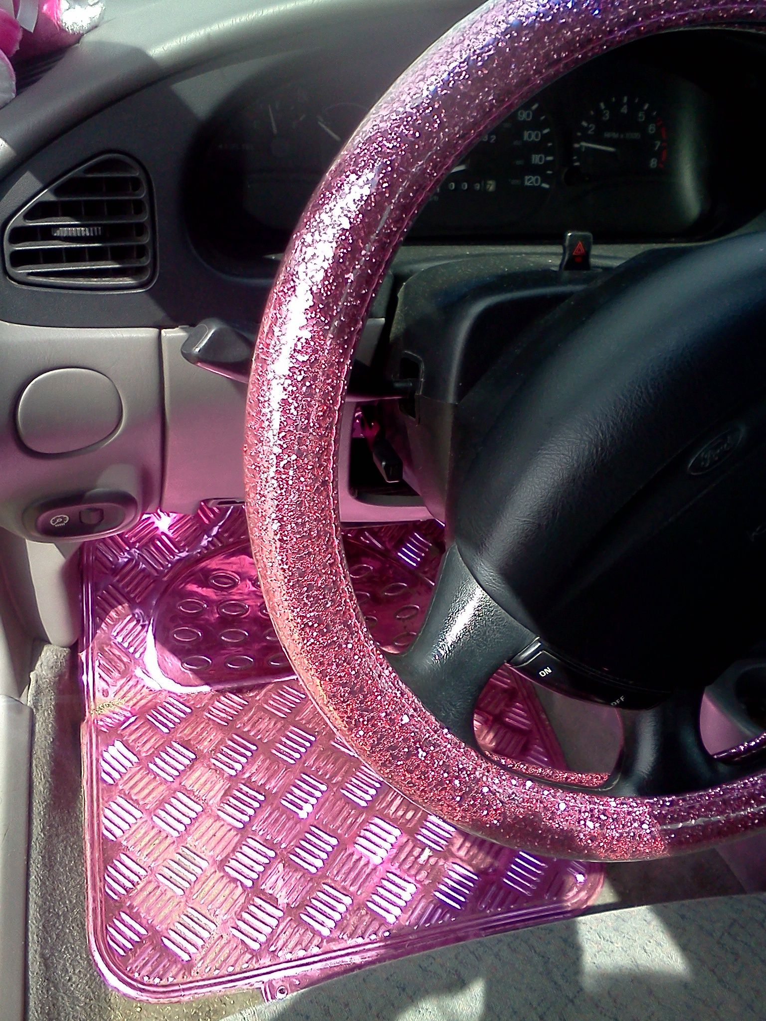 My Own Glitter Pink Steering Wheel Cover From Korea Bought For Me By Husband And Aluminum Floor Mats Scotland