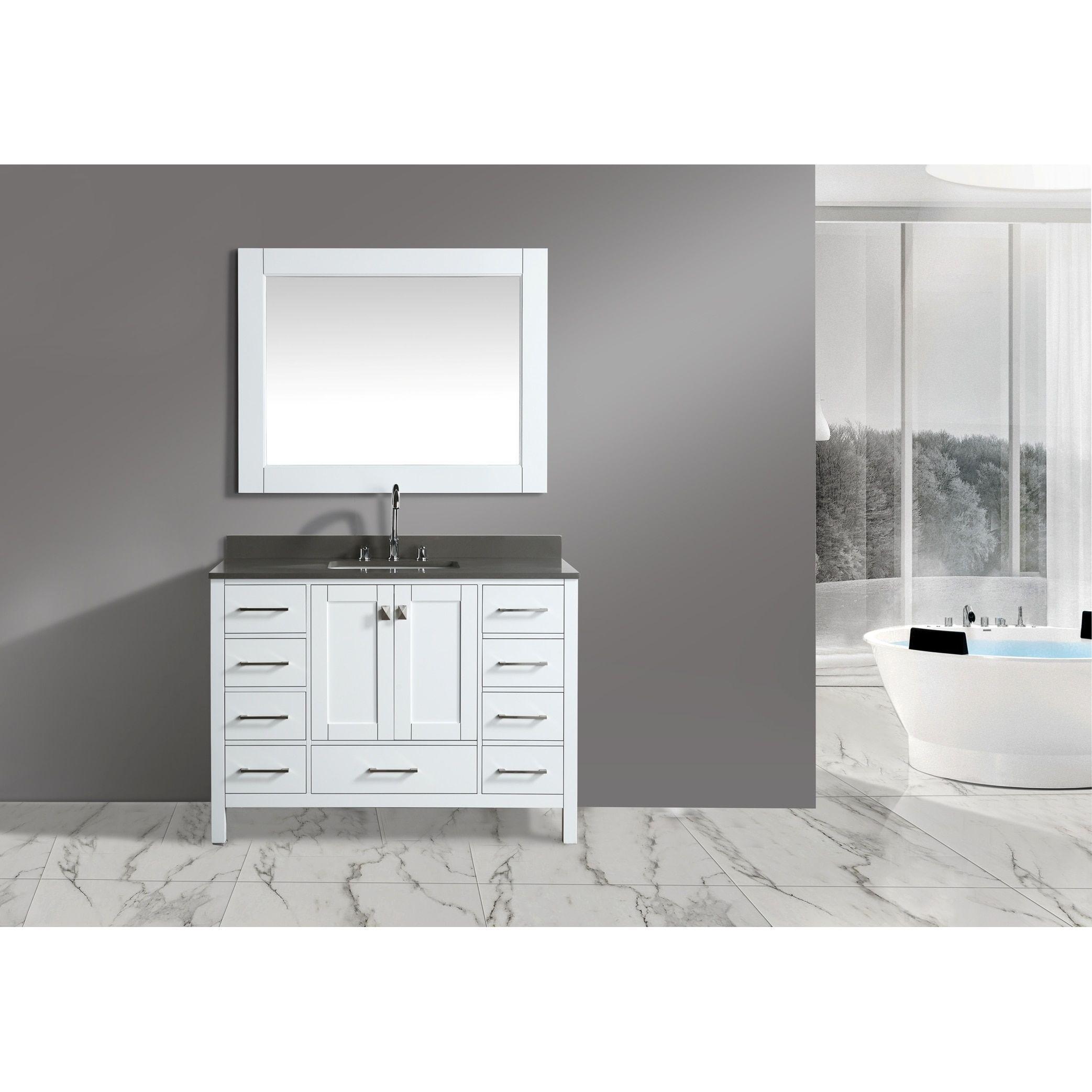 Design Element London White Wood/Porcelain/Chrome 48-inch Single ...