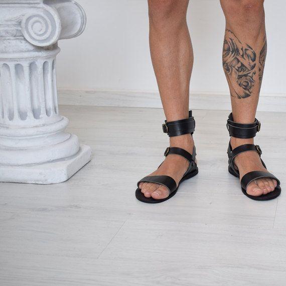 7c61d9e572f Gift For Men Gladiator Men Sandals Men Black sandals