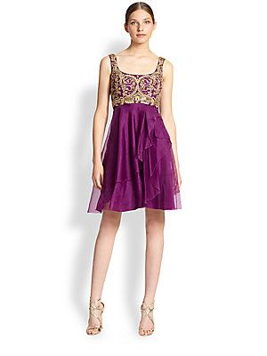 Notte by Marchesa Lace-Collar Illusion Dress