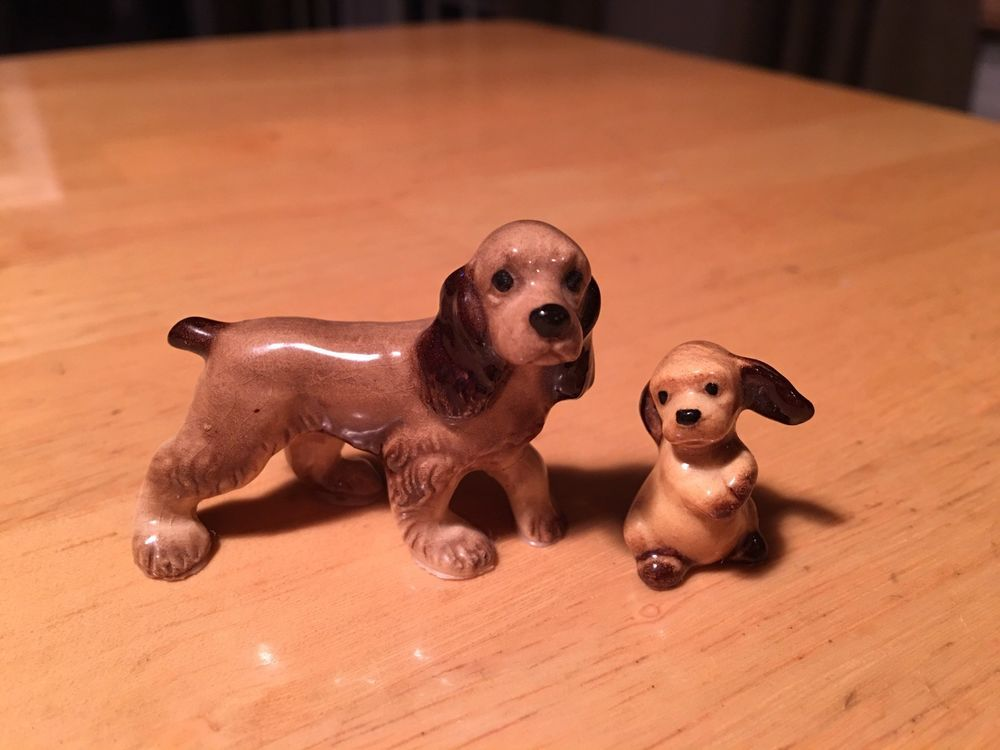 Hagen Renaker Miniature Cocker Spainel Puppy Porcelain Figurine Set Of 2 Hagenrenaker Porcelain Figurines Puppies Figurines