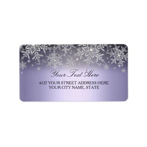 Crystal Snowflake Purple Winter Address Label