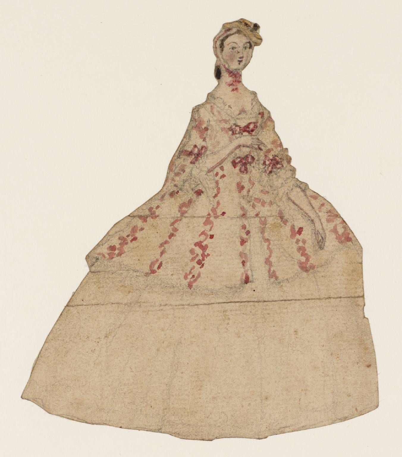 Pink dress illustration  Susanna Duncombe née Susanna Highmore uCutout of a Lady in a