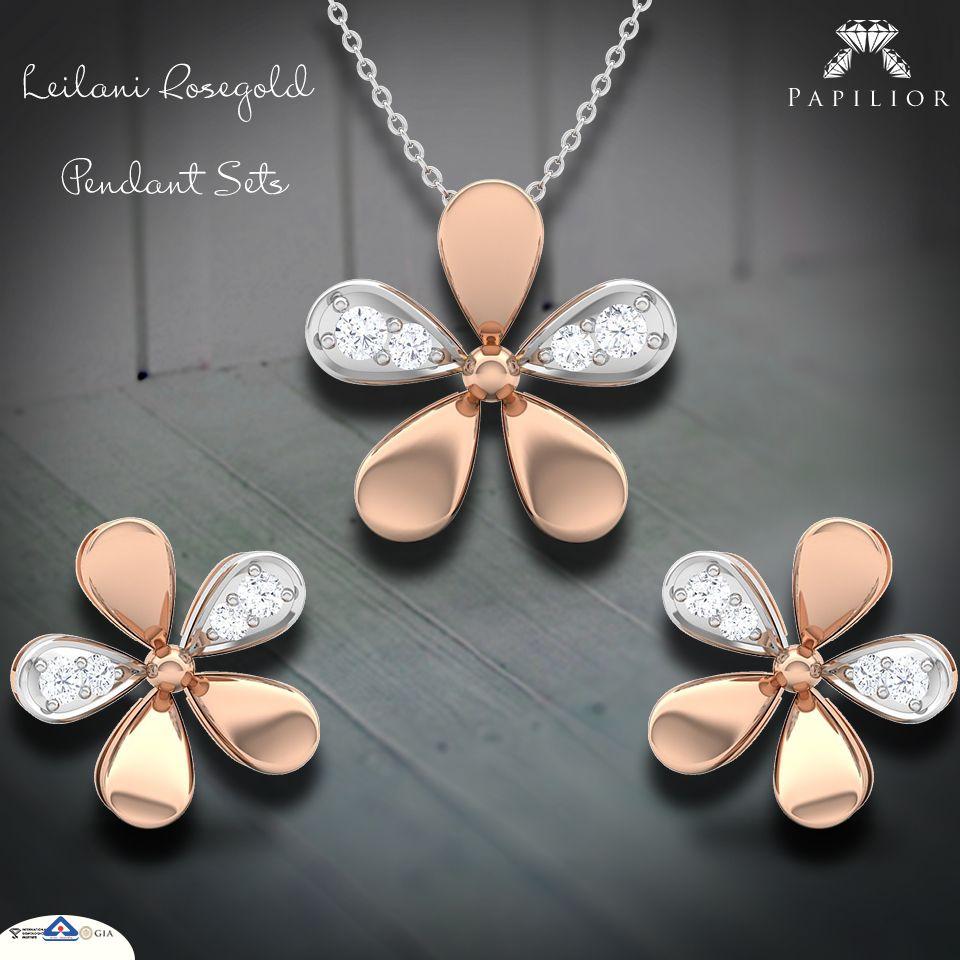 Leilani rosegold pendant set online for women pendant set