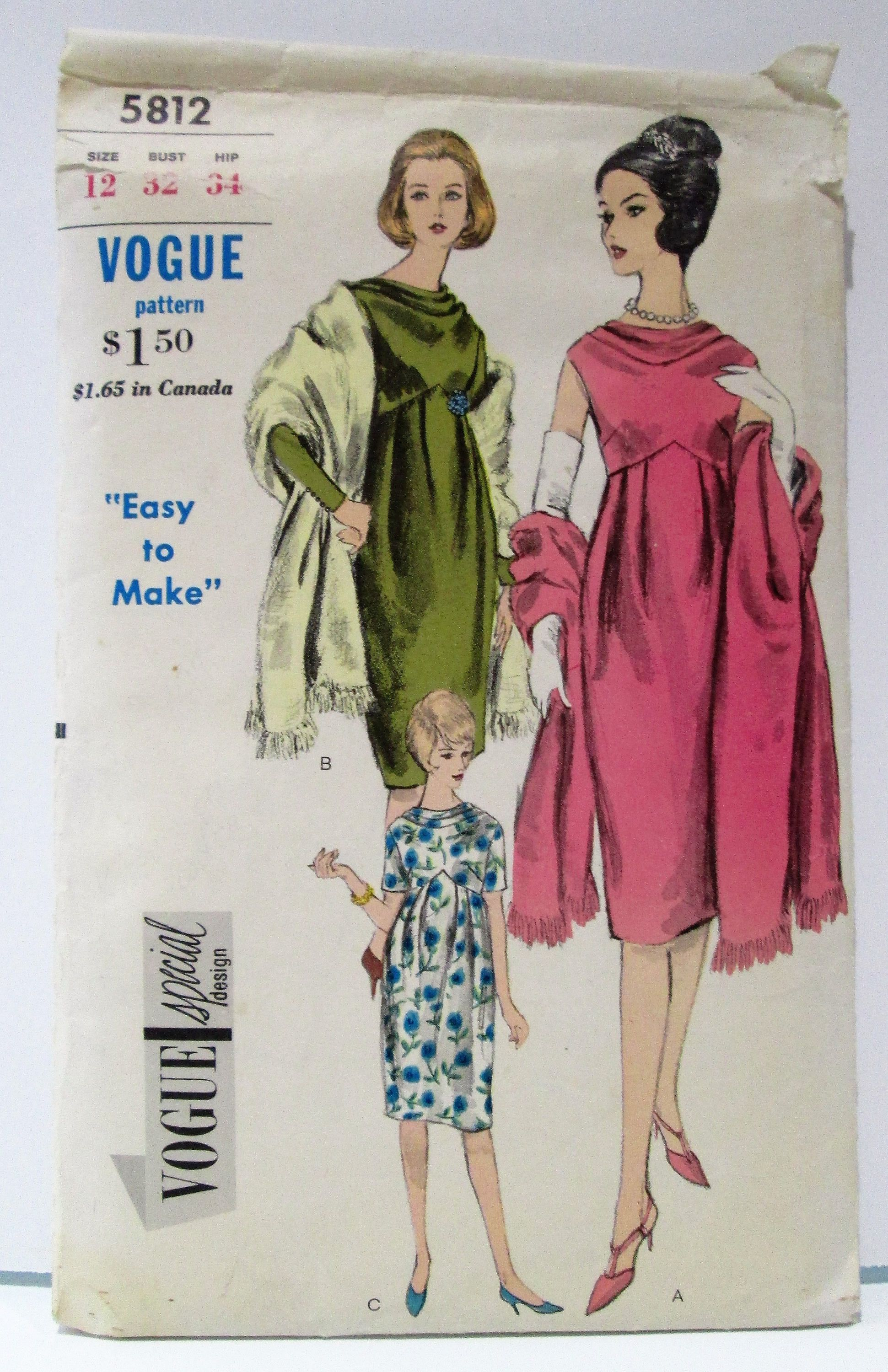 ba419ca32abaf Vintage Sewing Pattern Vogue 5812 - maternity evening dress with draped  neckline
