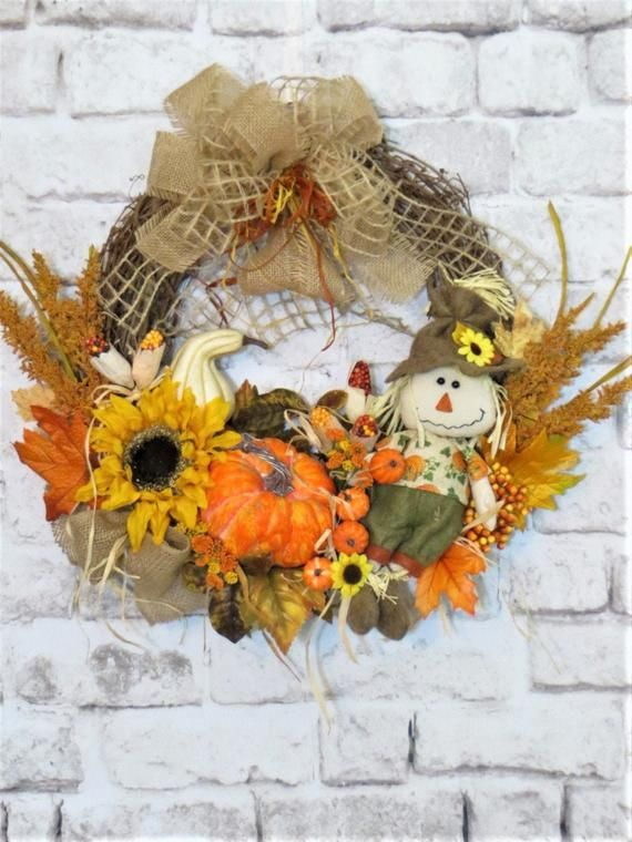 Scarecrow Wreath, Fall Wreath, Fall Decor, Rustic Fall Wreath, Harvest Wreath, Thanksgiving Wreath, #scarecrowwreath