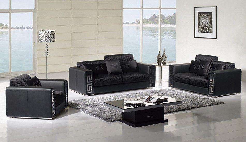Fabio Black Modern Living Room Set  Hominic Living Room Awesome Designer Living Room Sets Design Ideas