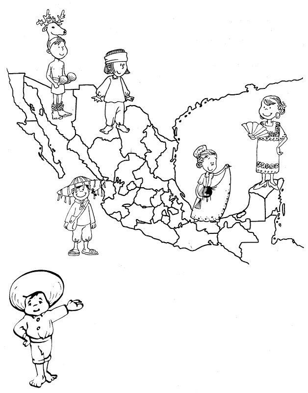 Mapa de México con sus trajes típicos para colorear Mapa