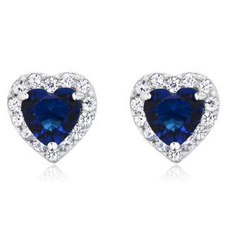 Stunning created sapphire and zirconia earrings. Free Shipping in US.  Buy With Confidence...buyer protected