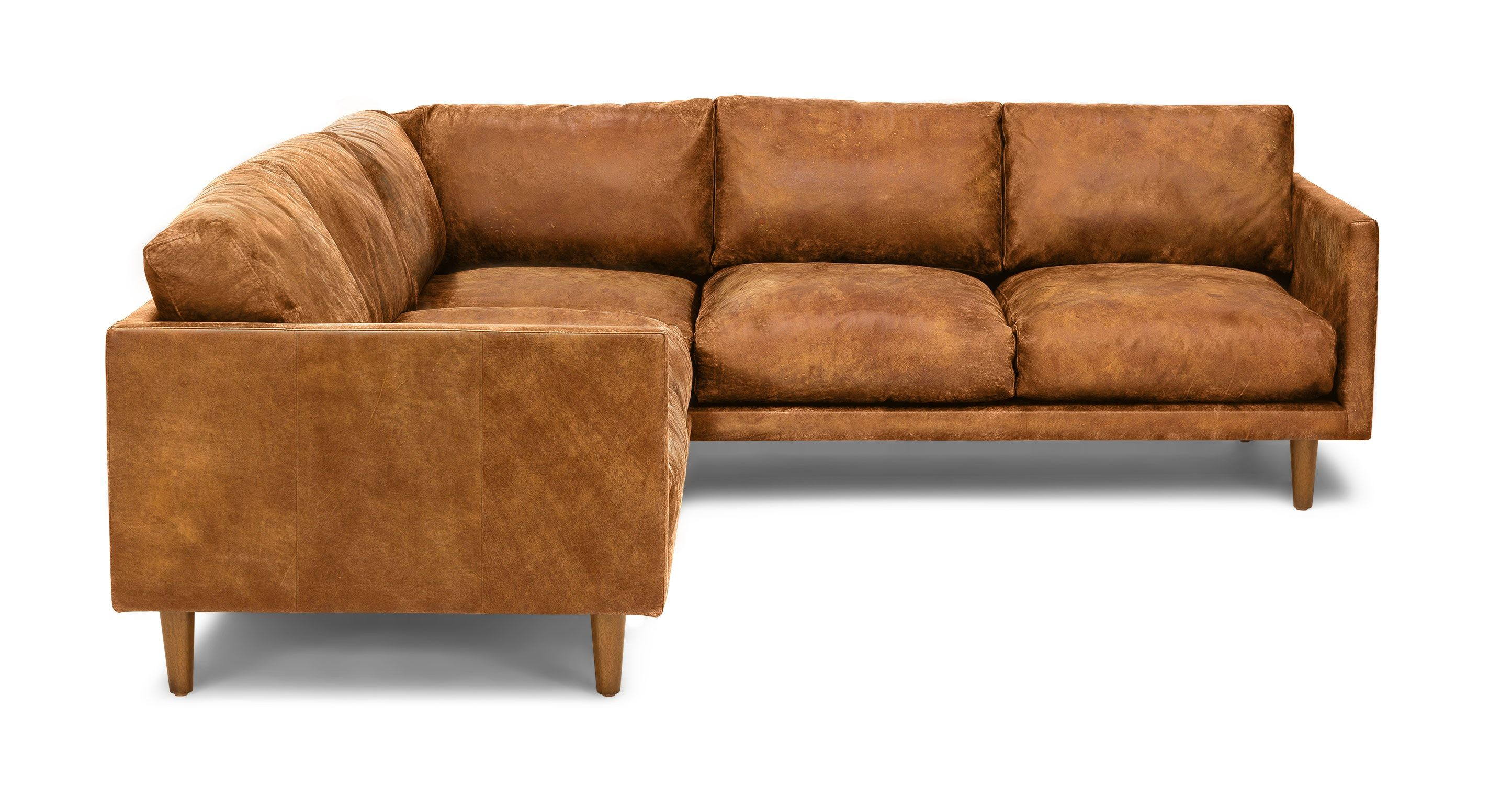 Tan Brown Leather Sectional Upholstered   Article Nirvana Modern Furniture