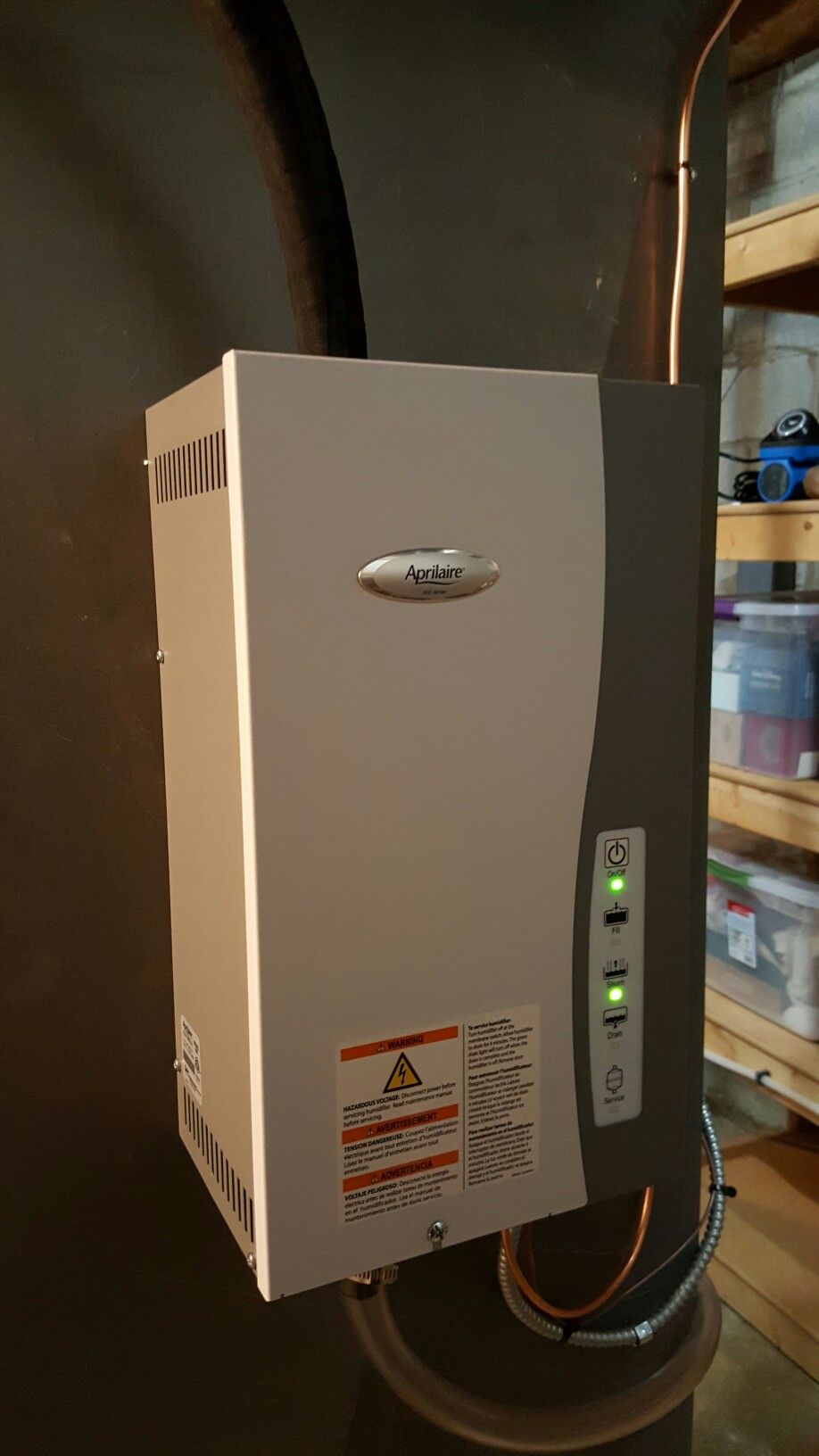 Aprilaire model 800 whole home steam humidifier installed