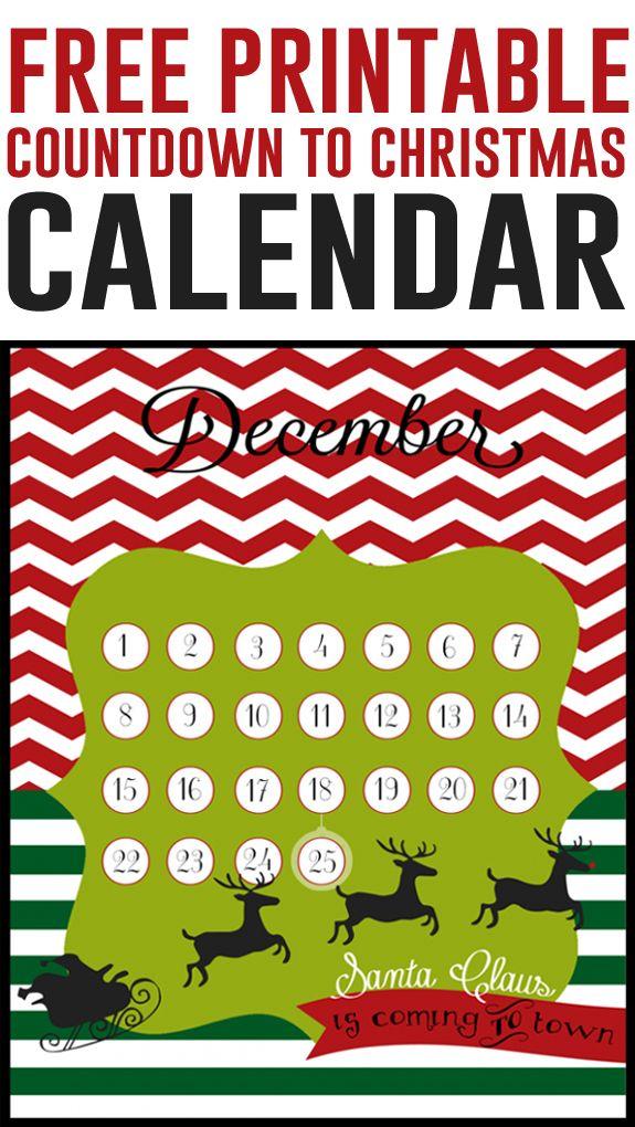 Christmas countdown Free 8x10 printables Countdown calendar - countdown calendar template