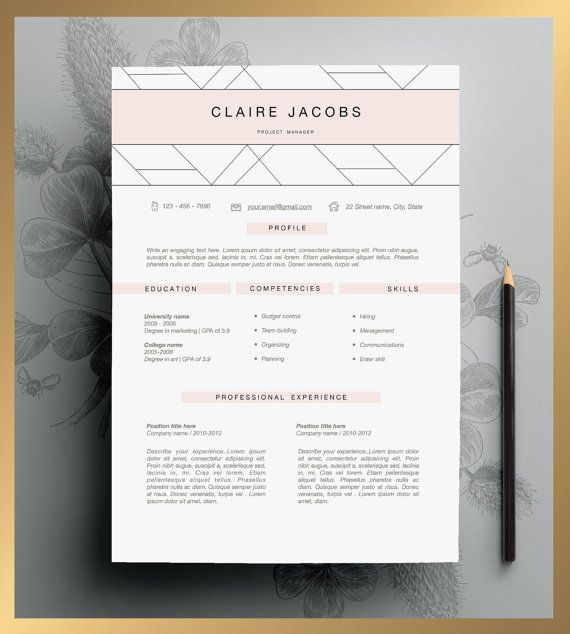 Resume Template Cv Template Editable In Ms Word And Pages Etsy Graphic Design Resume Creative Resume Templates Creative Cv