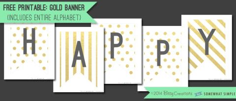 graphic regarding Free Printable Happy Birthday Banner Letters named No cost Printable Gold Banner Printables Gold banner, Totally free