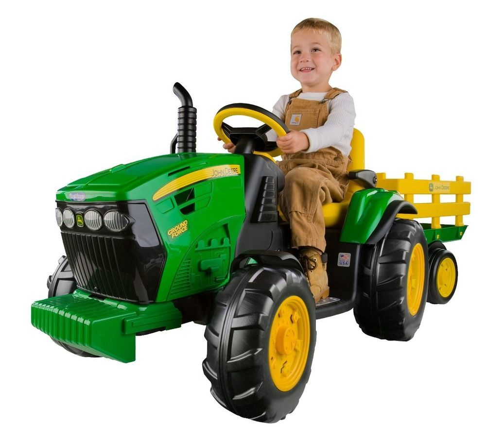 Kids Ride On Toy Tractor Ground Force Trailer Battery