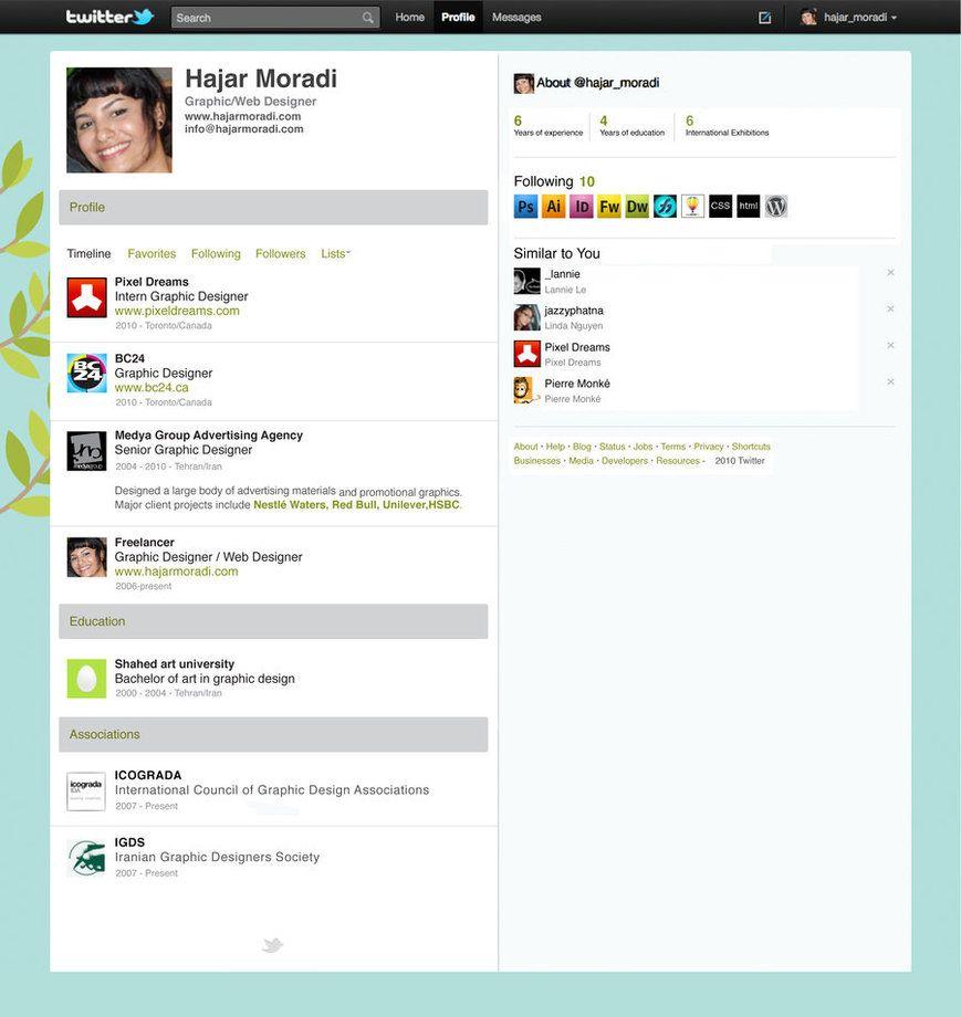 TwitterInspired Resume By Stormystranger  Clever Social Media